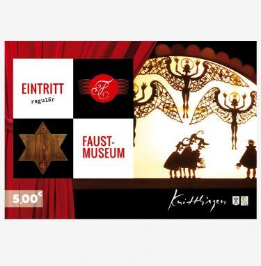 Die schöne Eintrittskarte zum Faust-Museum (Vorderseite) können Sie auch als Postkarte verwenden.
