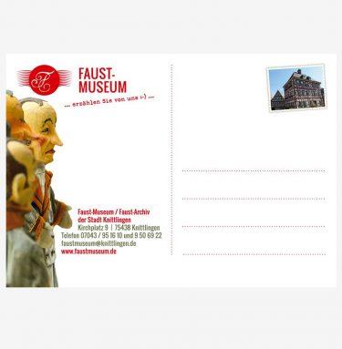 Die schöne Eintrittskarte zum Faust-Museum (Rückseite) können Sie auch als Postkarte verwenden.