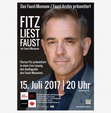 "Florian Fitz hat bei uns aus dem ""Faust"" gelesen! (Plakat zur Veranstaltung)"